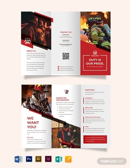 fire department recruitment tri fold brochure template