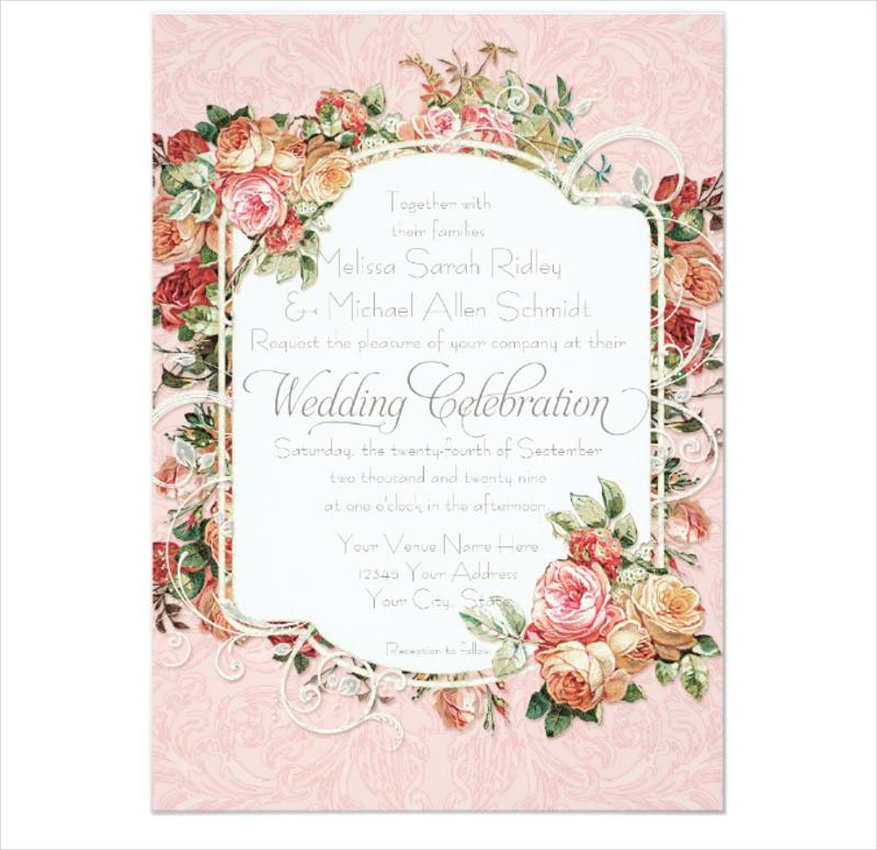 floral bouquet formal wedding invitation