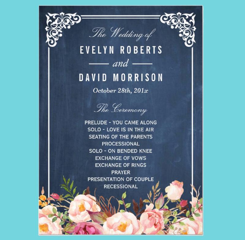 floral chalkboard diy wedding invitation