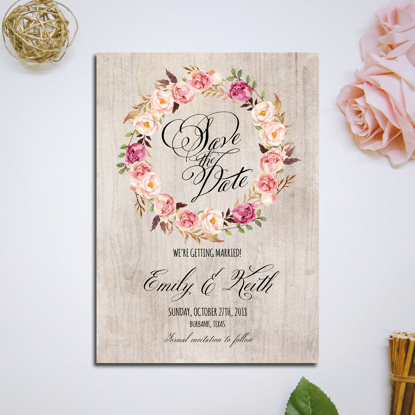 floral country wedding invitation