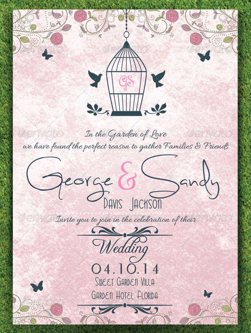 16+ Garden Wedding Invitation Designs and Examples - PSD ...
