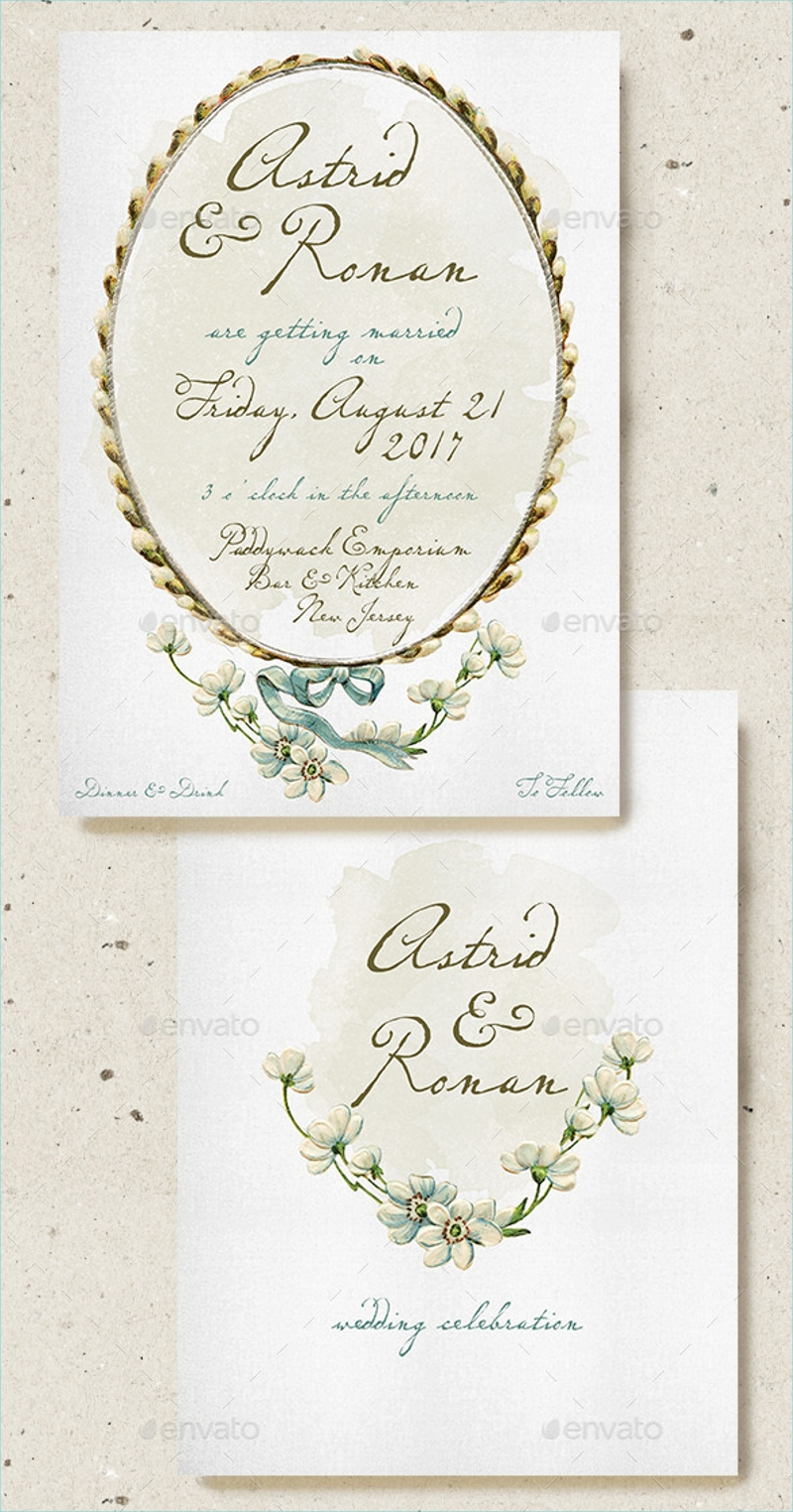 floral illustration wedding invitation