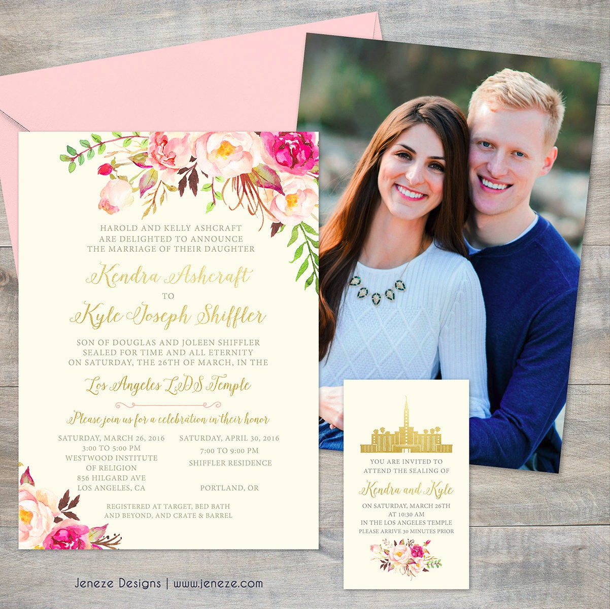 floral photo wedding invitation1