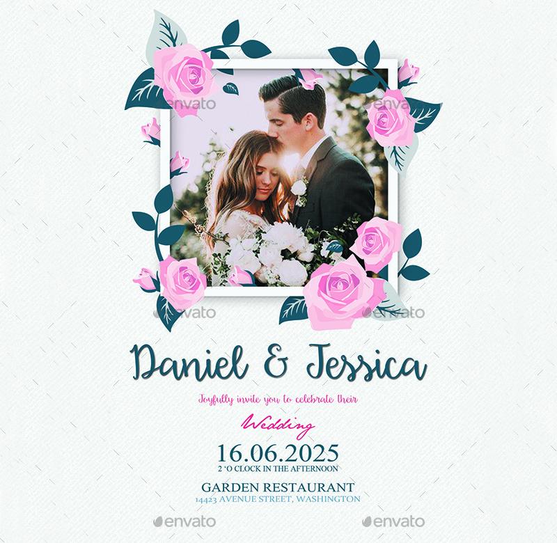 floral photo wedding invitation
