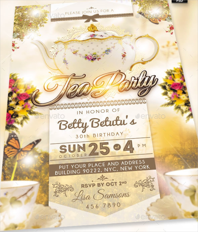 floral tea party invitations1