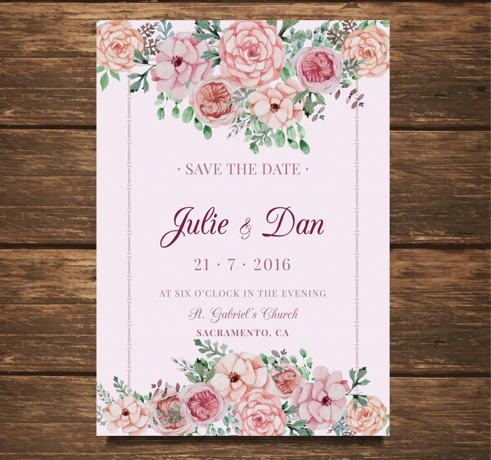 floral wedding card invitation