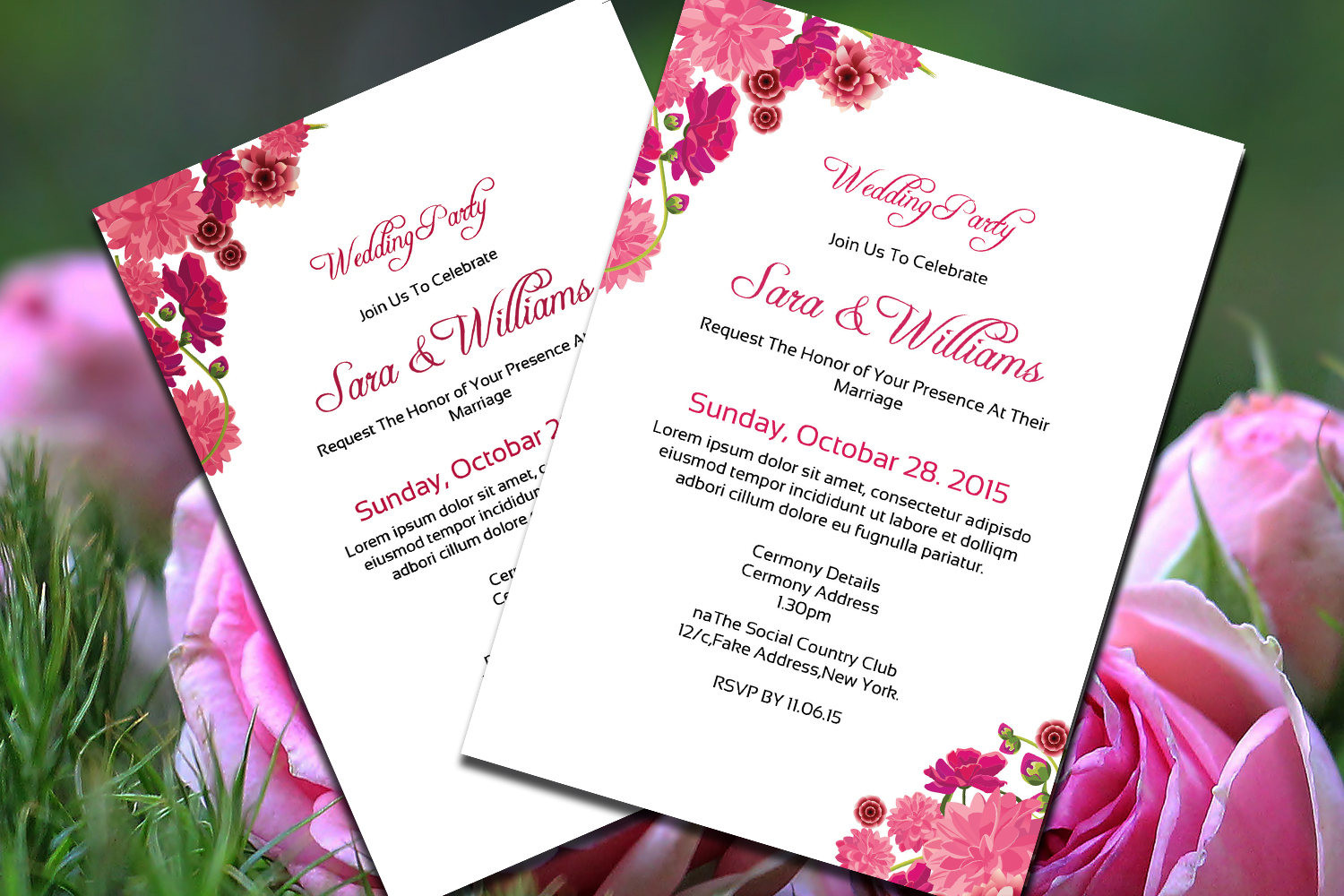 floral wedding party invitation