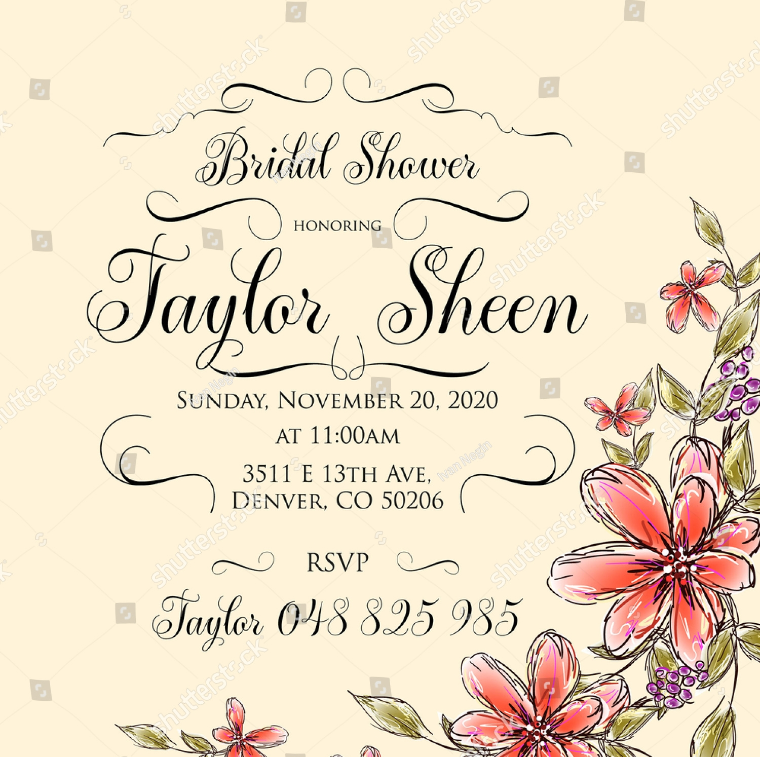 floral wedding shower invitation
