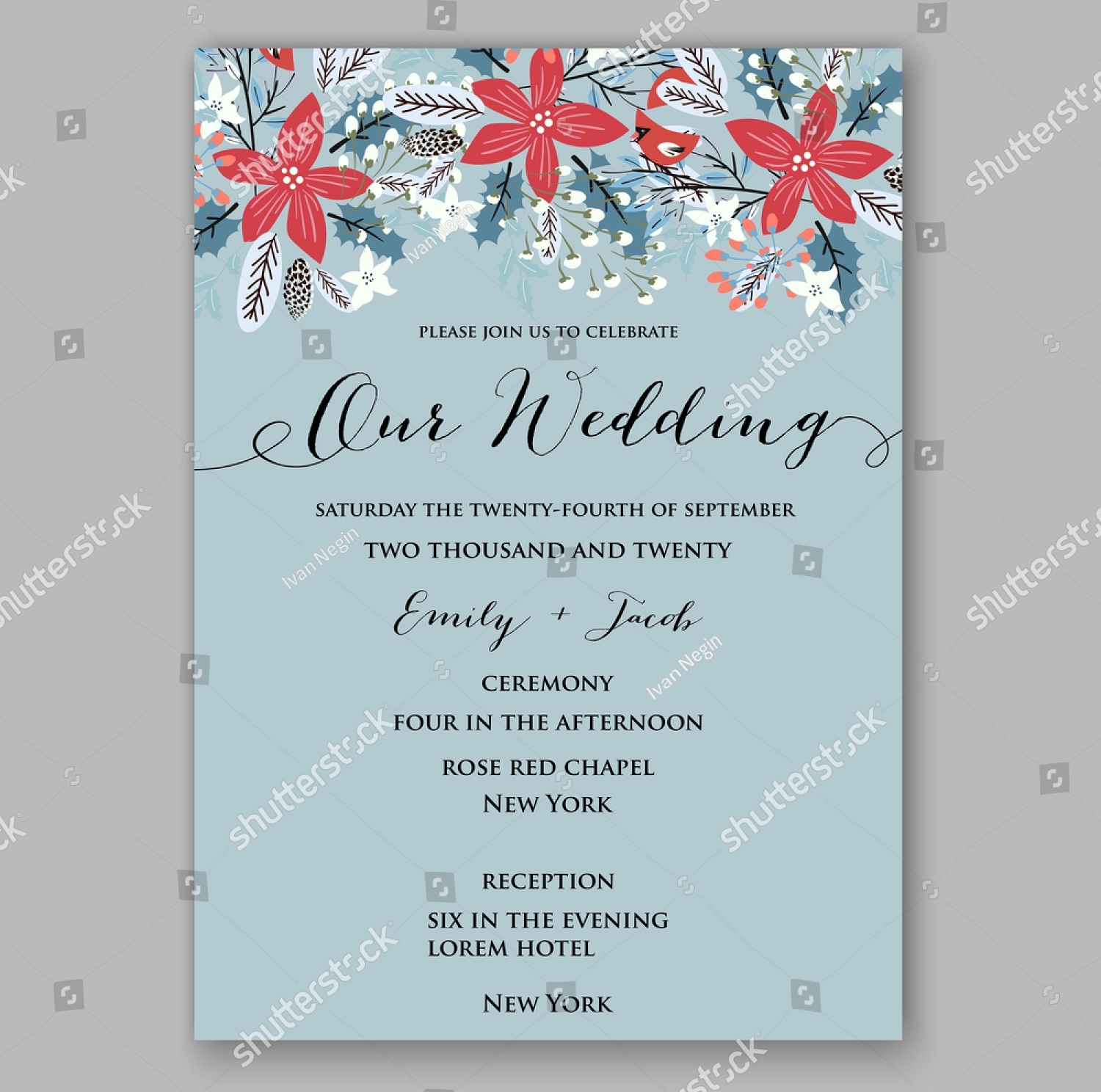 floral winter wedding invitation