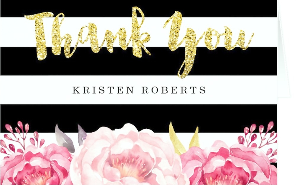 floral and glittery thank you card