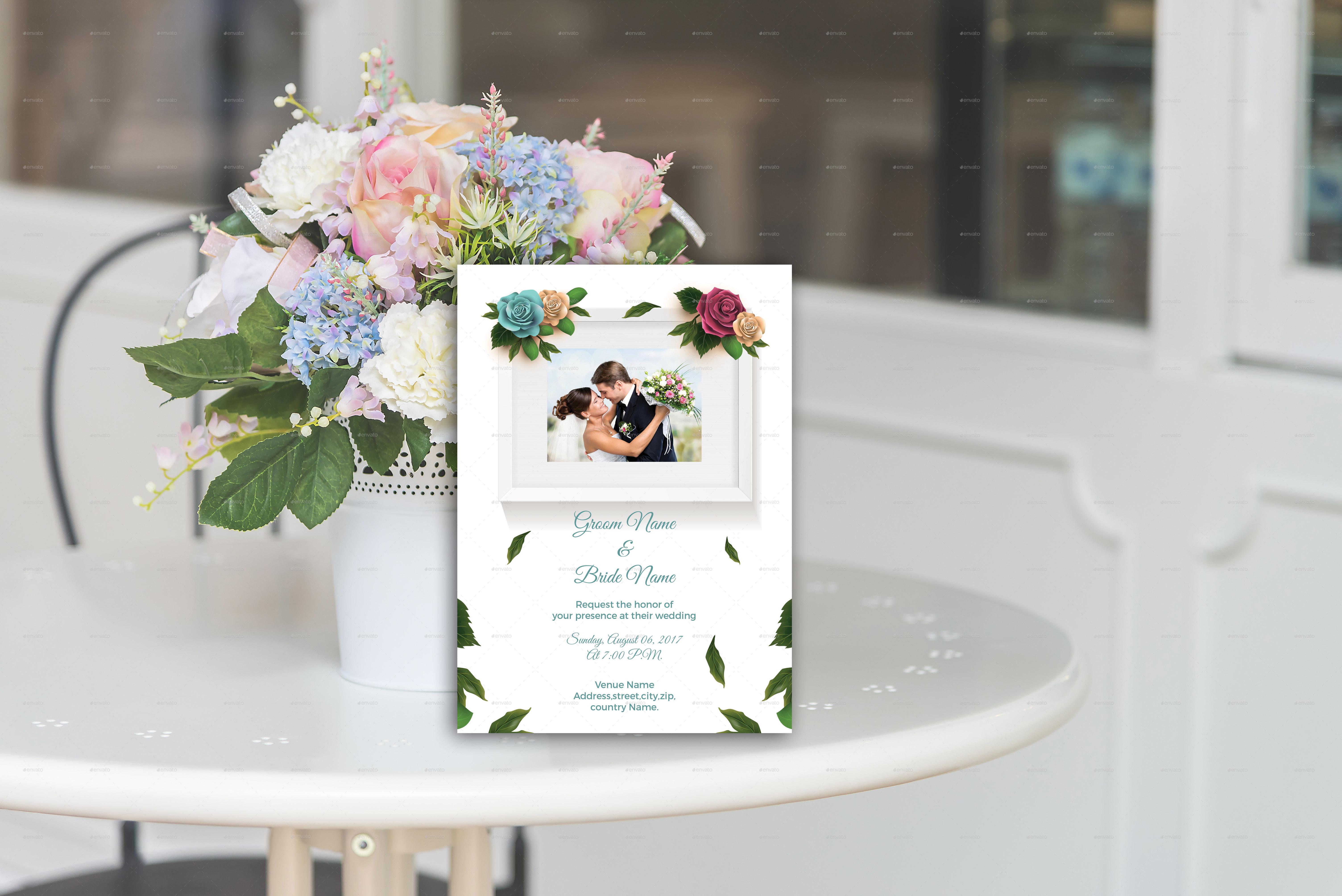 flowers photo wedding invitation