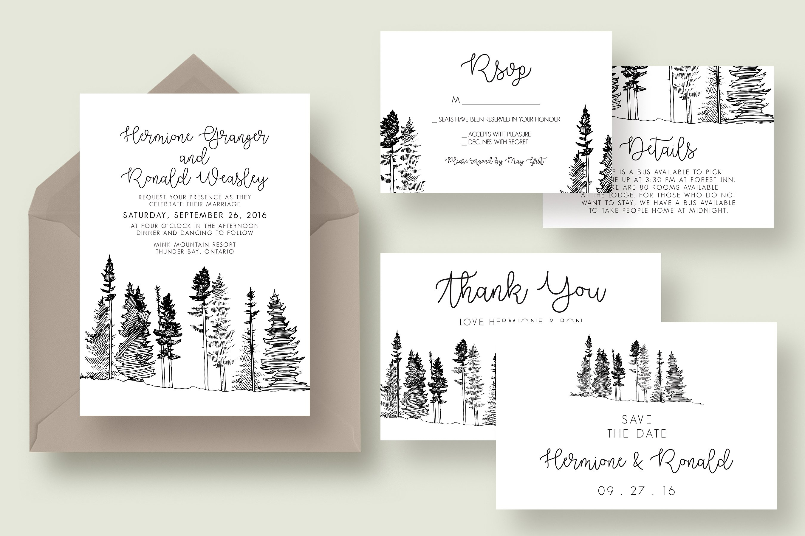 forest drawing wedding invitation