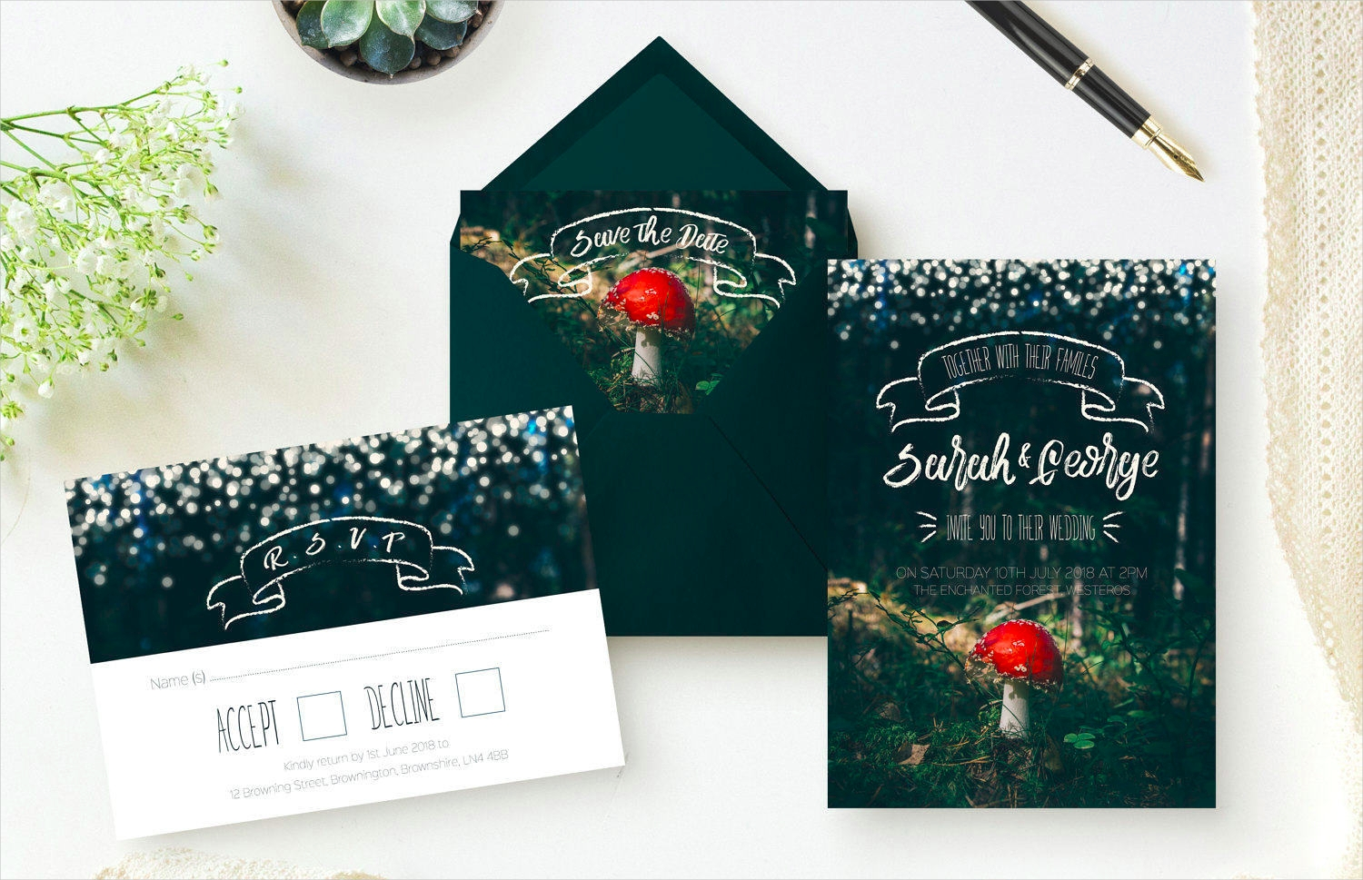 forest sparkle wedding invitation