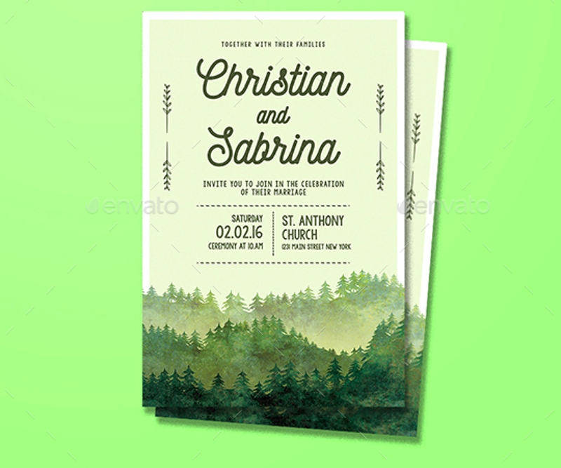 forest wedding party invitation