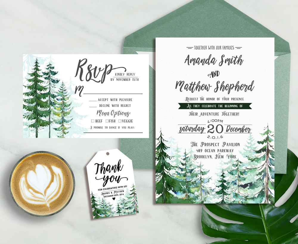 forest winter wedding invitation