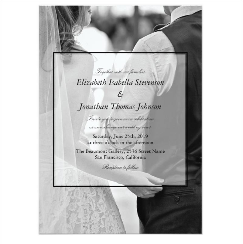 formal black white photo wedding card