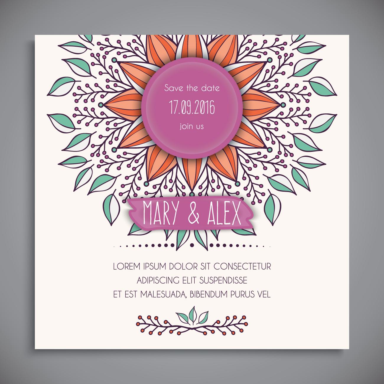 free boho wedding invitation