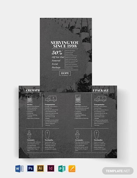 funeral event bi fold brochure template