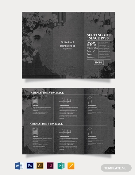 funeral event tri fold brochure template