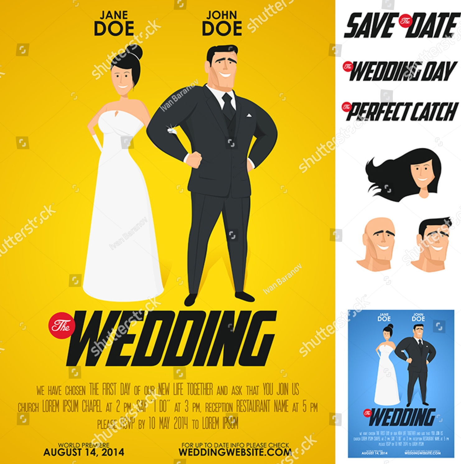 funny glossy movie poster wedding invitation