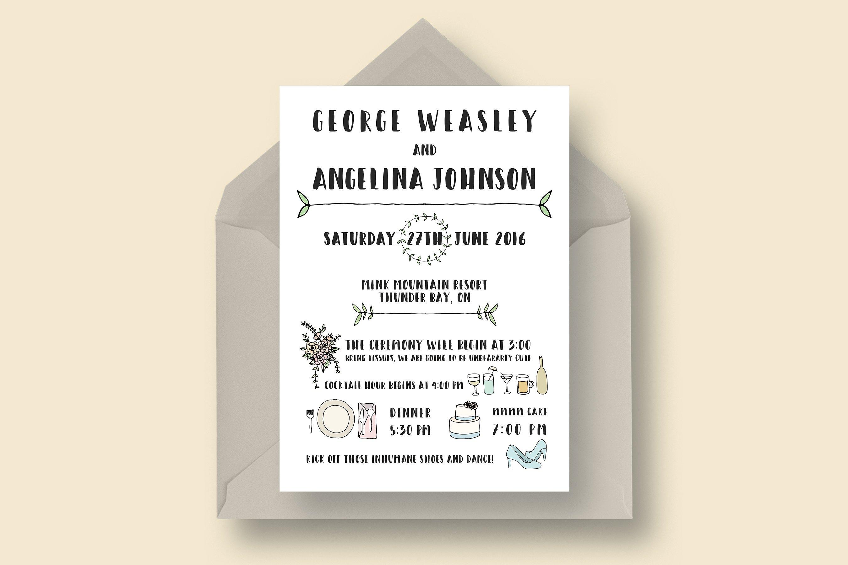 funny wedding invitation suite