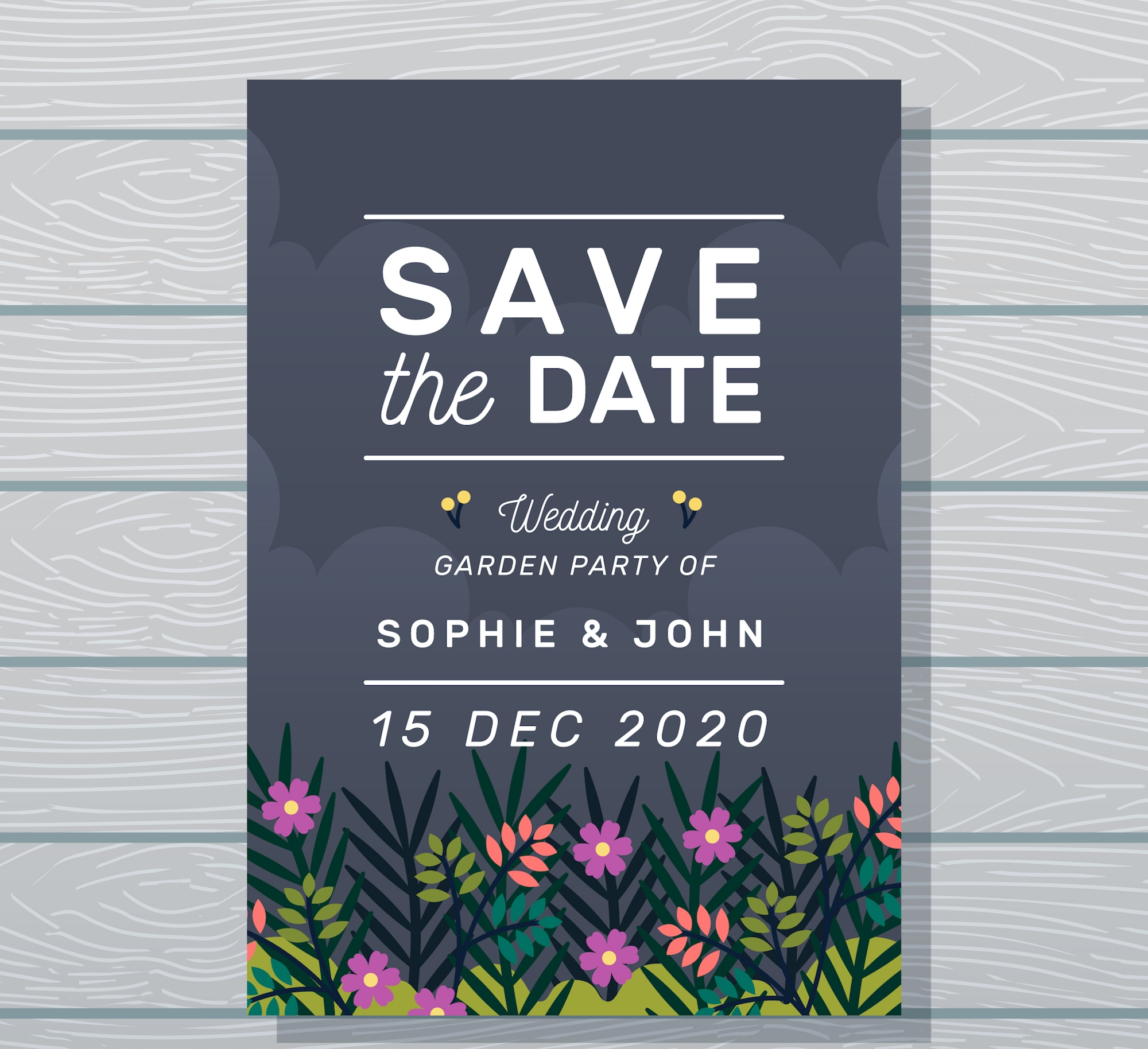 garden and night sky wedding invitation