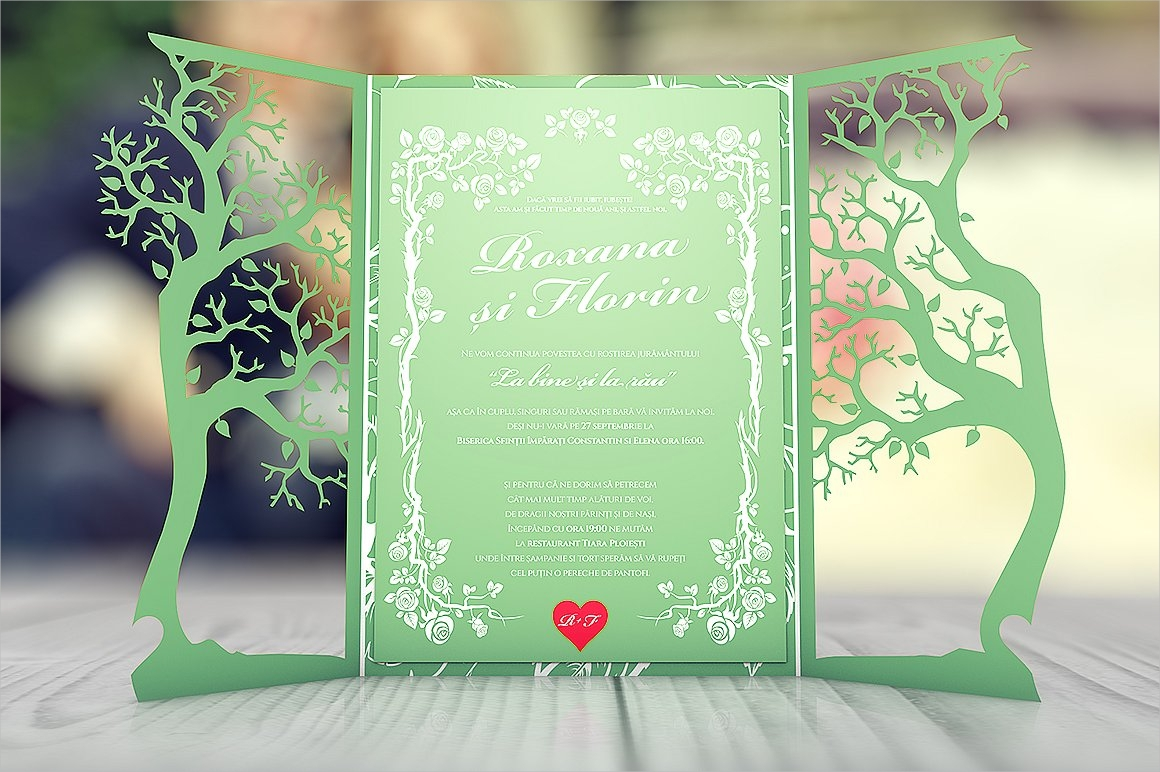 gatefold floral wedding invitation