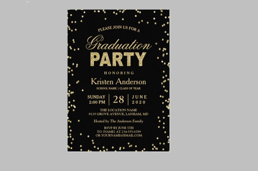glitter sparkles graduation party card