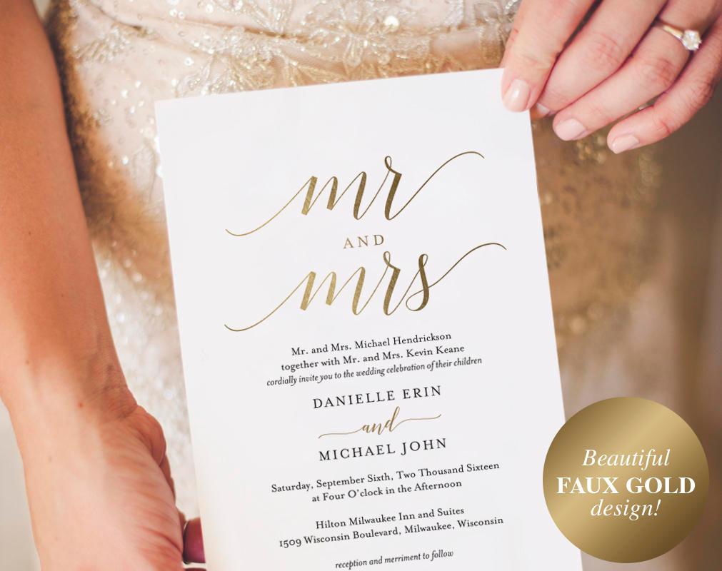 gold best wedding invitation