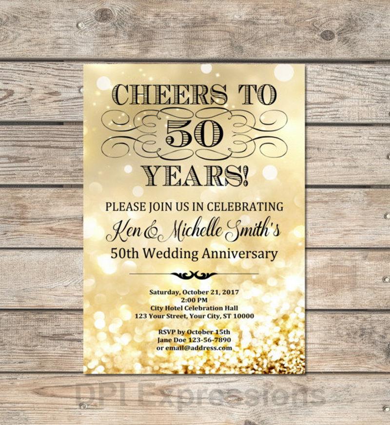 gold bokeh 50th anniversary invitation