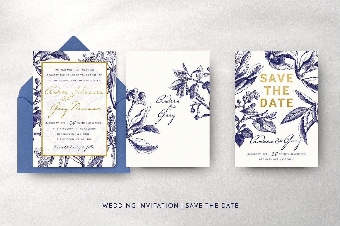 gold navy wedding invitation
