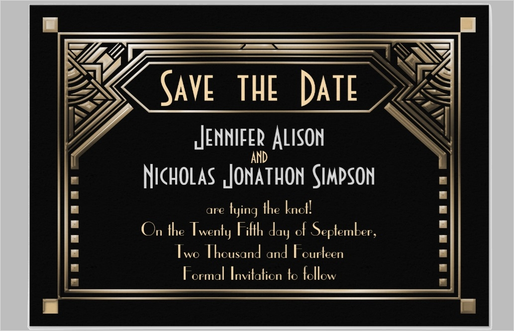gold shaded gatsby art deco wedding invitation