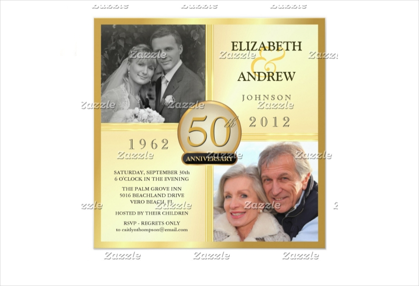 golden wedding anniversary photo invitation