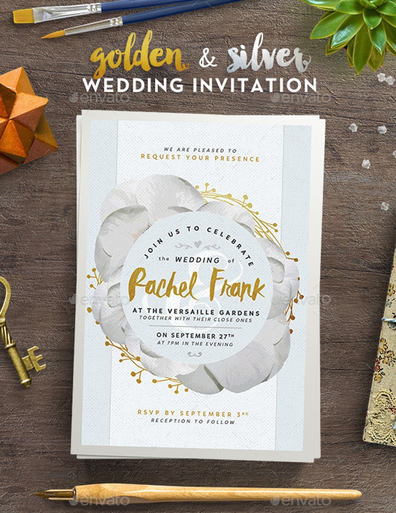 golden and silver wedding invitation