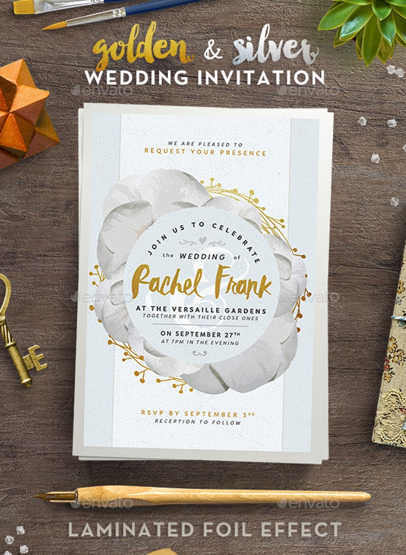 golden and silver wedding invitation1