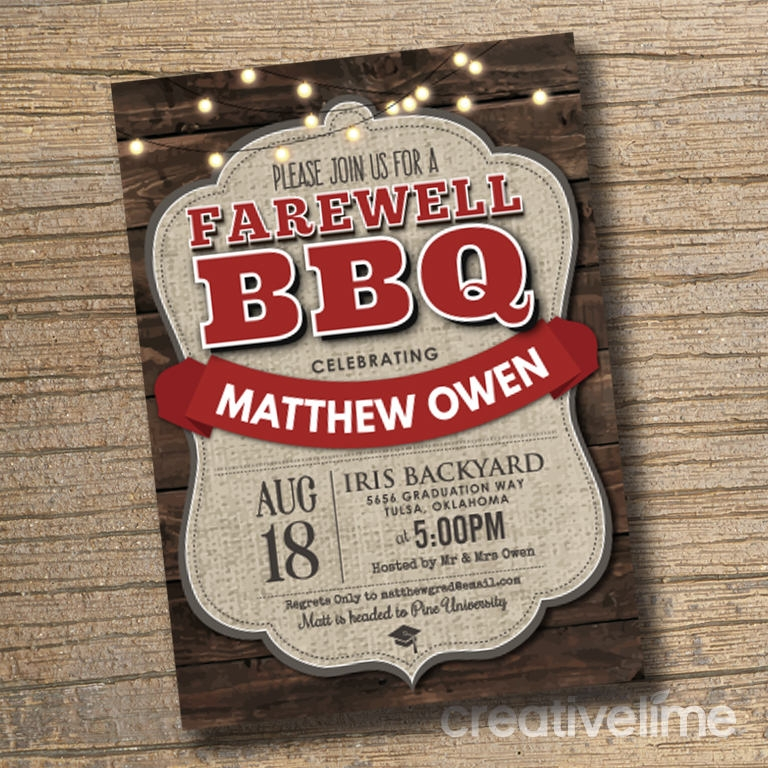graduation farewell bbq party invitation