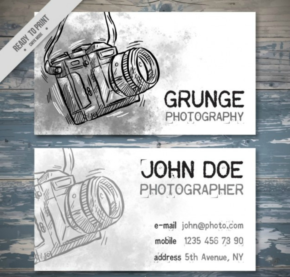 hand drawn watercolor photography business card