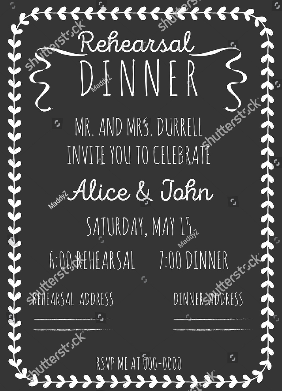 hand drawn wedding rehearsal invitation