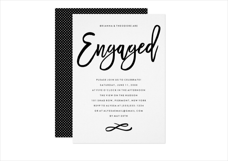 hand lettered engagement party invitation