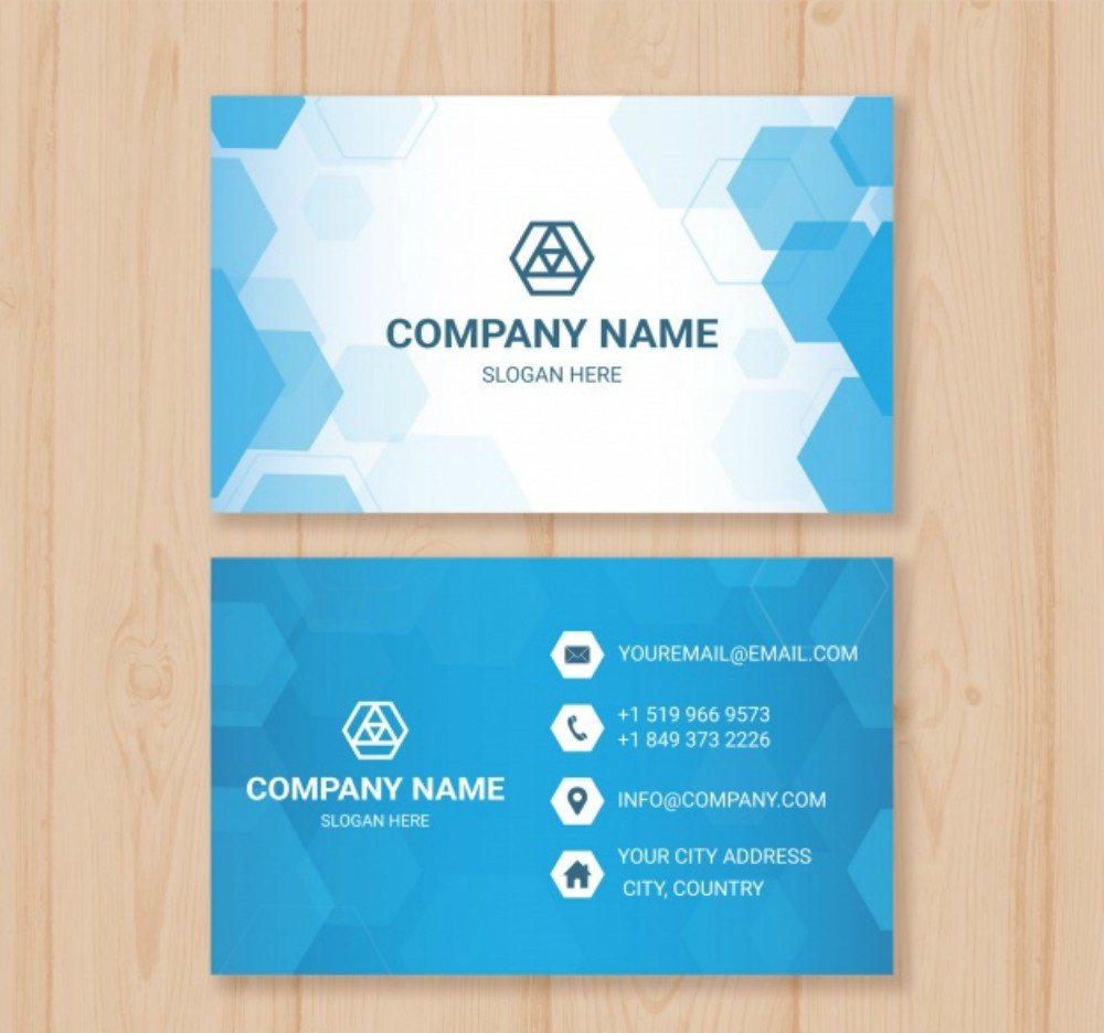 hexagon blue business card