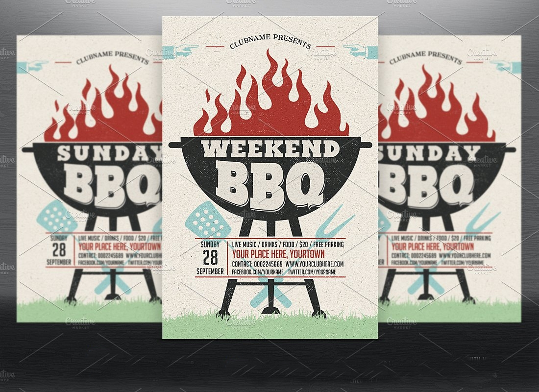 holiday bbq party flyer invitation
