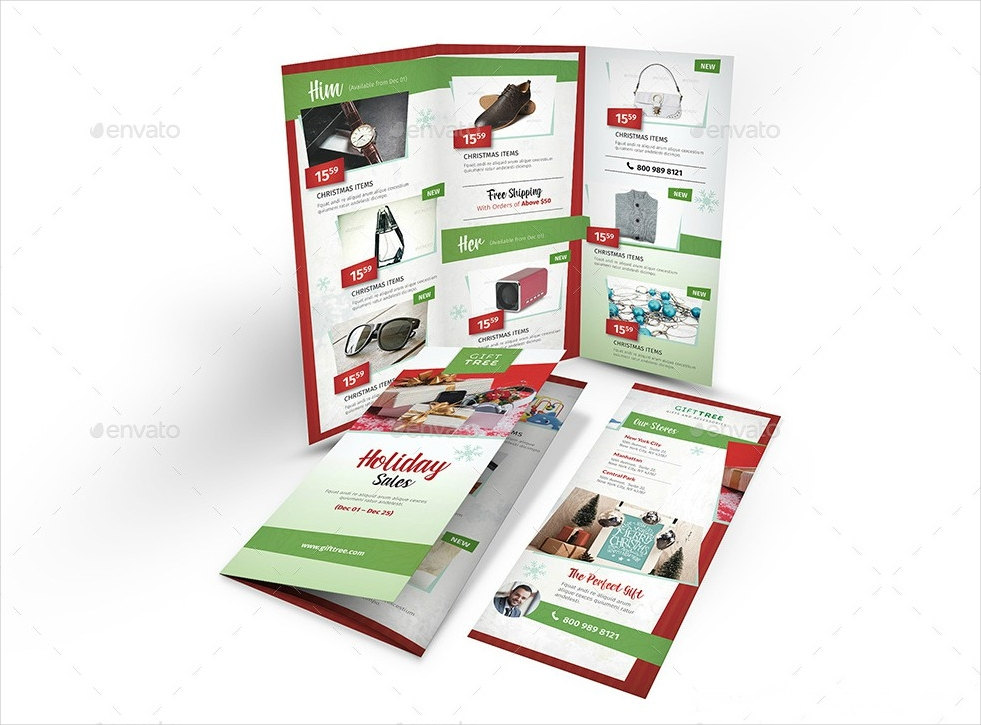 holiday sales promotion tri fold brochure