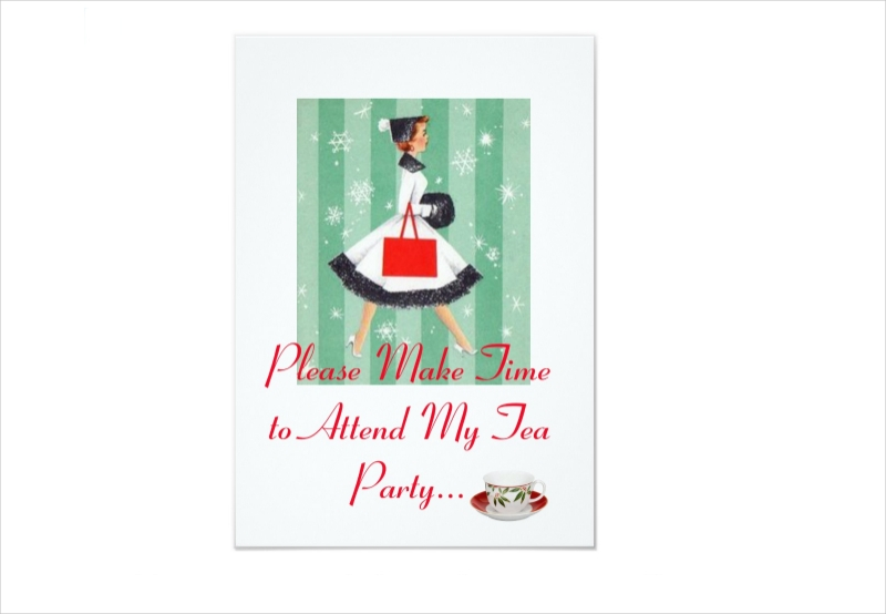 holiday tea party invitation