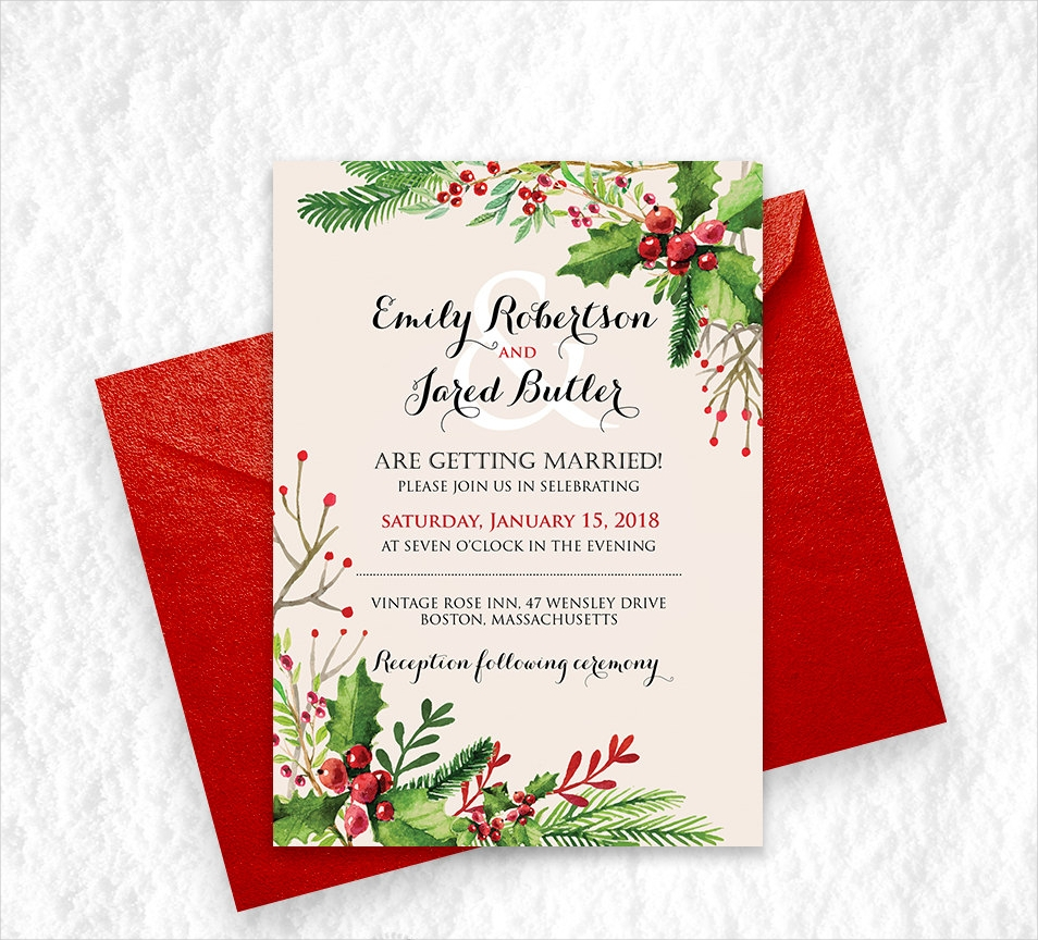 holiday winter wedding invitation