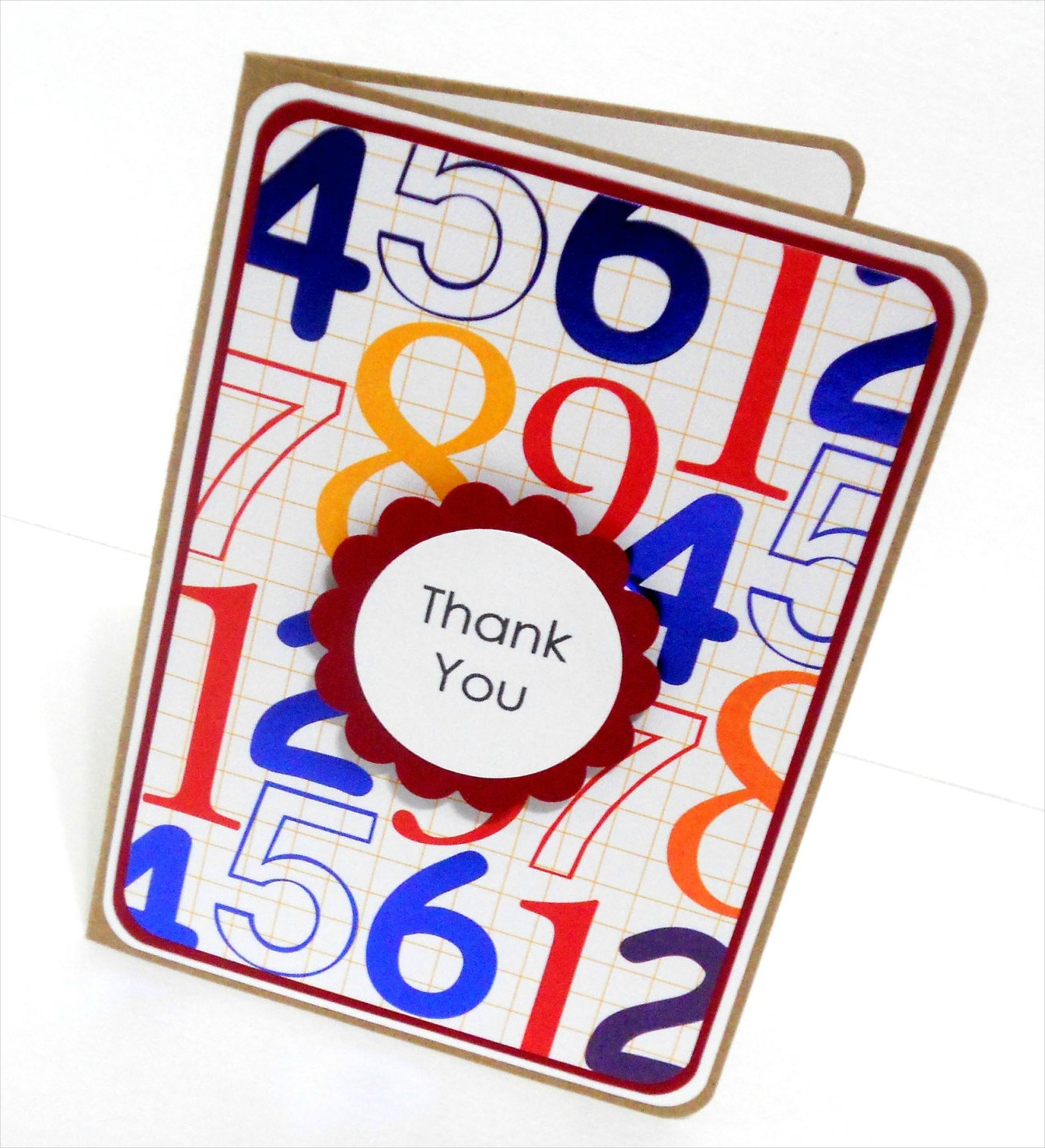 kids number thank you card