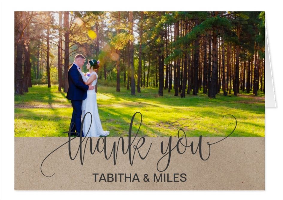 kraft rustic photo thank you card