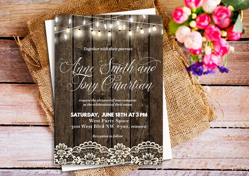 lace country wedding invitation
