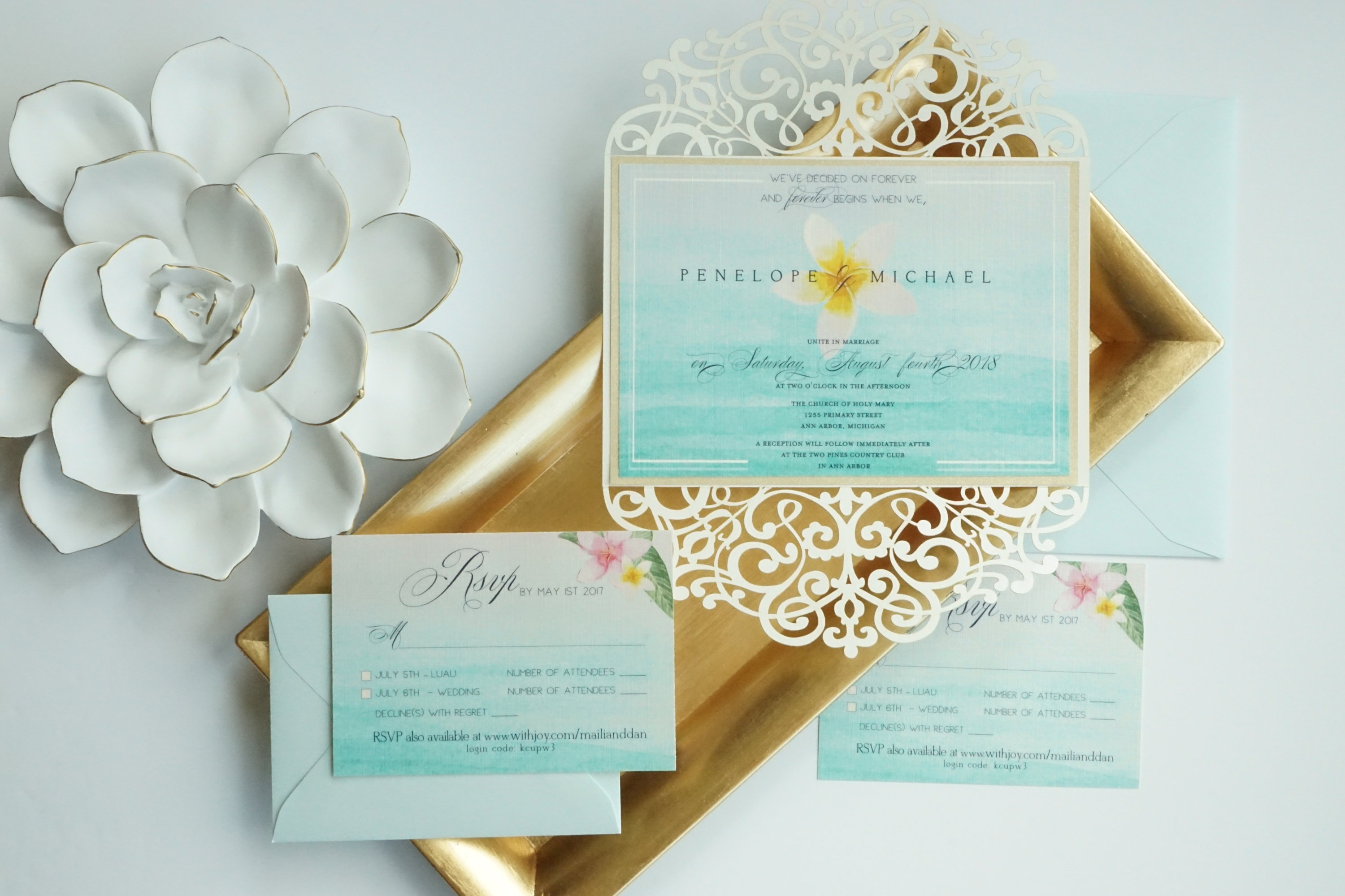laser cut beach wedding invitation