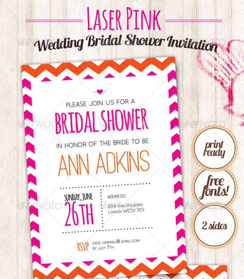 laser pink wedding bridal shower invitation