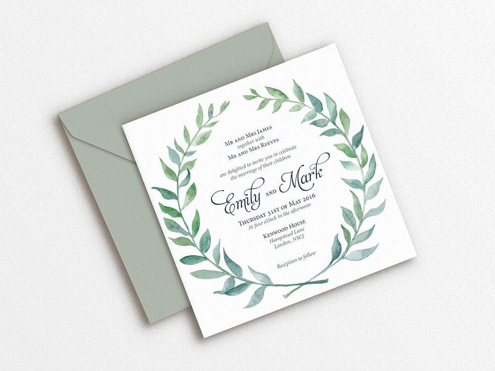 leaf modern watercolor wedding invitation